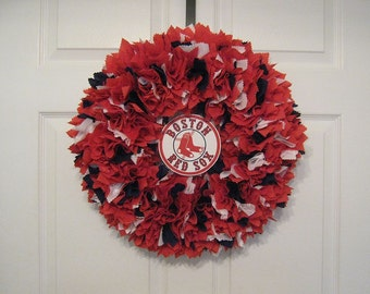 "18"" Boston Red Sox Fabric Wreath--logo must be attached by consumer"