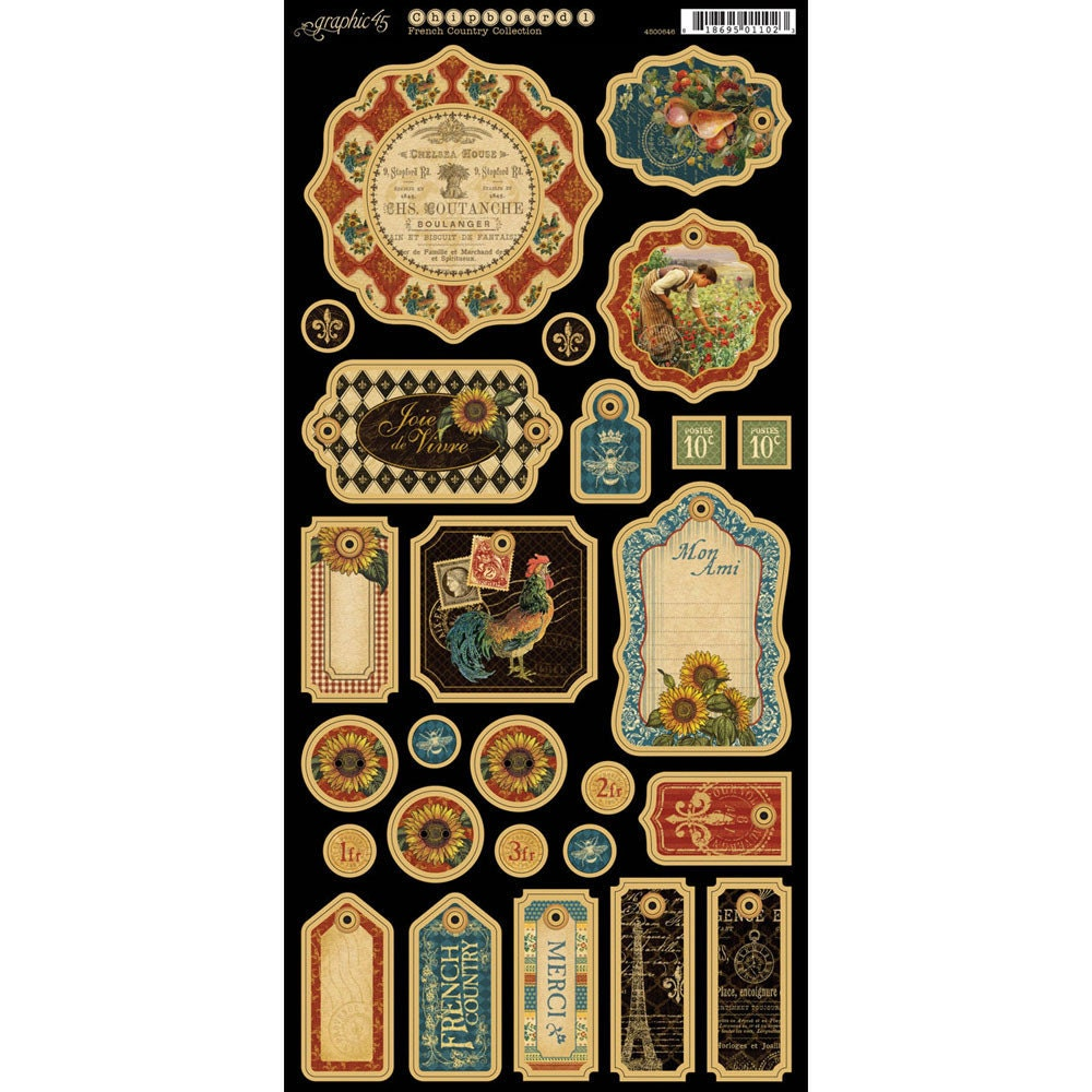 Graphic 45 French Country Collection Chipboard Die Cuts