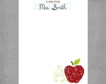 Teacher Notepad - Delicious Red Damask Apple with Swirls and Notebook Design - Personalized Custom Notepads - Appreciation Gift - Staci