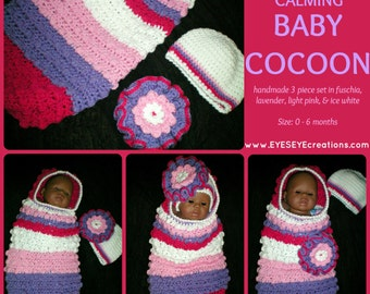 Calming Baby Cocoon - in fuschia, lavender, light pink, & ice white