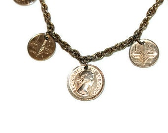 Vintage Charm Necklace Foriegn Coins