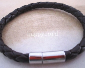 5pcs  coffee color  (8inches) faux braided leather bracelet 5mm
