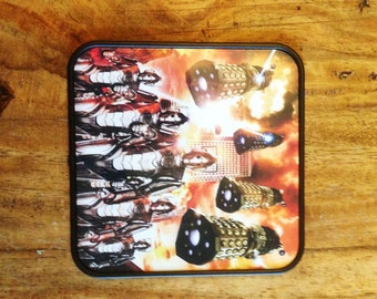 Dr Who Cybermen and Daleks Square Coaster