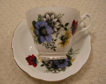 vintage bone china footed cup & saucer by 'ROYAL ASCOT' . . . made in England