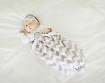 Baby Girl Dress, Baby Girl bodysuit Dress, Grey Chevron gown, Designer Sleep Gown, Layette, Baby Nightgown, Newborn Sleep Sack, Baby Girl