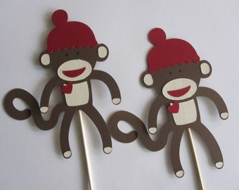 3 Sock Monkey Centerpieces