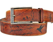 Leather belt - BIRD/BARBED WIRE silhouette design