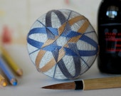 spring rain - Japanese temari - zen home decor ornament - pearl gray with grey, butterscotch yellow, blue embroidery - crafting for a cause