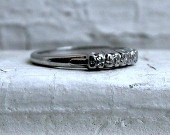 Thin Classic Vintage Platinum Diamond Wedding Band - 0.08ct