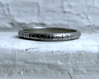 Vintage Engraved Platinum Wedding Band.