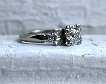 Fabulous Vintage 14K White Gold Diamond Engagement Ring - 0.71ct.