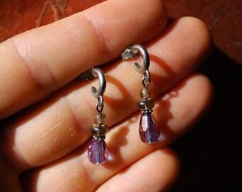 ANTIQUE EARRINGS - 1940s Sterling Silver Dangle Earrings