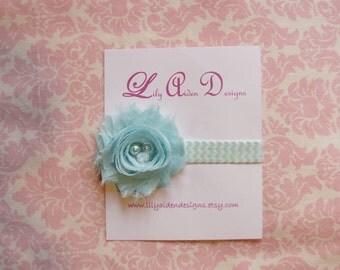 Aqua jeweled shabby flower on a aqua chevron headband/ Newborn headband/ baby headband