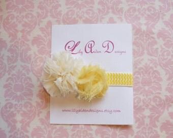 Cream and yellow chiffon flowers on yellow chevron headband/ Newborn headband/ baby headband
