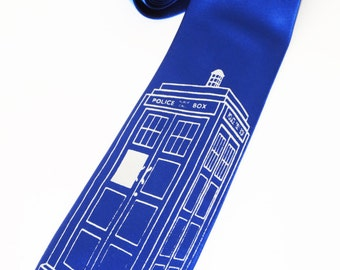 Tardis Police Box Tie screen printed Necktie Dr. Who inspired