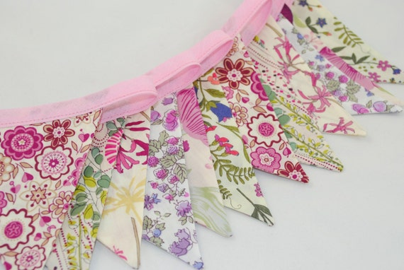 Shabby Chic Liberty of London Bunting - PRETTY PINKS - perfect for Showers, Weddings and Parties