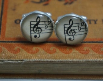 Vintage sheet music note cufflinks- treble clef