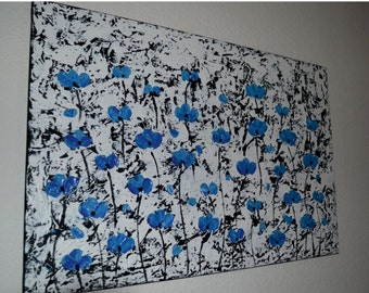"SALE Original Art Abstract Painting -Blue Flowers- Palette Knife  thick textured Acrylic Painting by Carola, 36""x24"" FREE SHIPPING"