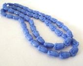 ON SALE - Czech Glass Beads - Periwinkle Blue Tulip Flowers, 11x7mm - 25 beads