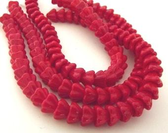 Czech Beads - Red Bell Glass Flower Beads, 5 Petals, 9x6mm - 15 beads