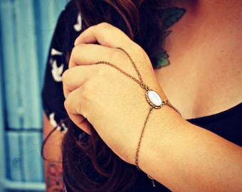 pearl slave bracelet, pearl hand chain, bracelet ring, ring bracelet, boho bracelet,  hipster bracelet, slave ring
