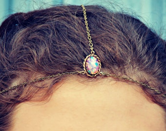 chain head piece, chain headband, pink opal headband, metal headband, unique headband