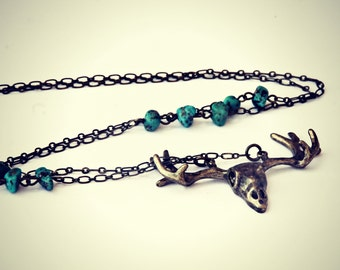 deer horn necklace with turquoise nuggets, turquoise necklace, rustic necklace, deer necklace, animal necklace