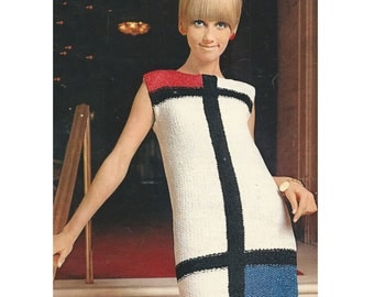 1960s Mod Dress Color Block Sleeveless Sheath - Knit pattern PDF 6201