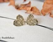 Heart Earrings - Unique Retro Bronze Heart Earrings - Post Stud Earrings