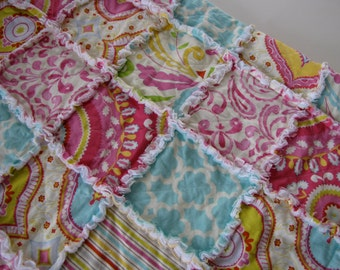 "Kumari Rag Quilt made with Free Spirit Fabrics 30"" X 30"""