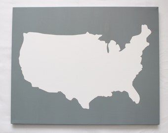 United States DIY Customize Map -16X20 Canvas Acrylic Painting, Wall Art, Decor Grey