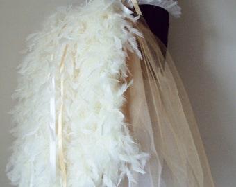Soft White and Gold  Burlesque Long Bustle Belt size 2 - 12 US 6 - 12 UK
