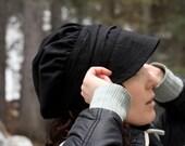 Black Wrap Bonnet Cap made of Combined Linens