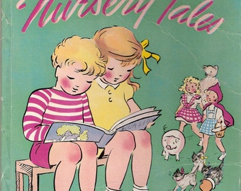 Romney Gay's Book of Nursery Tales Vintage Childrens Picture Book with Dust Jacket Illustrated 1945