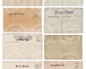 Antique Mini Postcards ATC backgrounds Collage Sheet Printable File Download Instantly