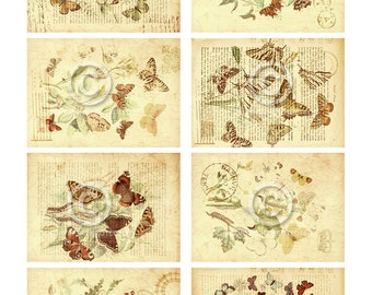 Botanical Butterflies ATC backgrounds Collage Sheet Printable Digital Download File Instantly