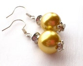 Pearl Earrings Dangle Golden Yellow Chunky Gold Pearls