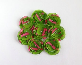 Green and Pink Poppies Embellishment