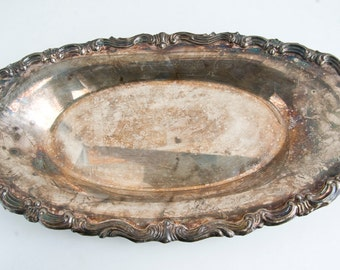 Vintage F B Rogers Silver Plate Dish, Vintage Serving Dish, Mid Century Silver Plate, Oval Serving Dish