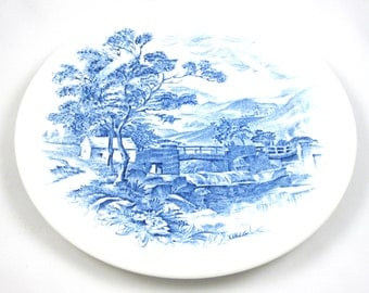 Blue Transferware 7-inch Plate, Countryside Pattern, Wedgwood & Co., England