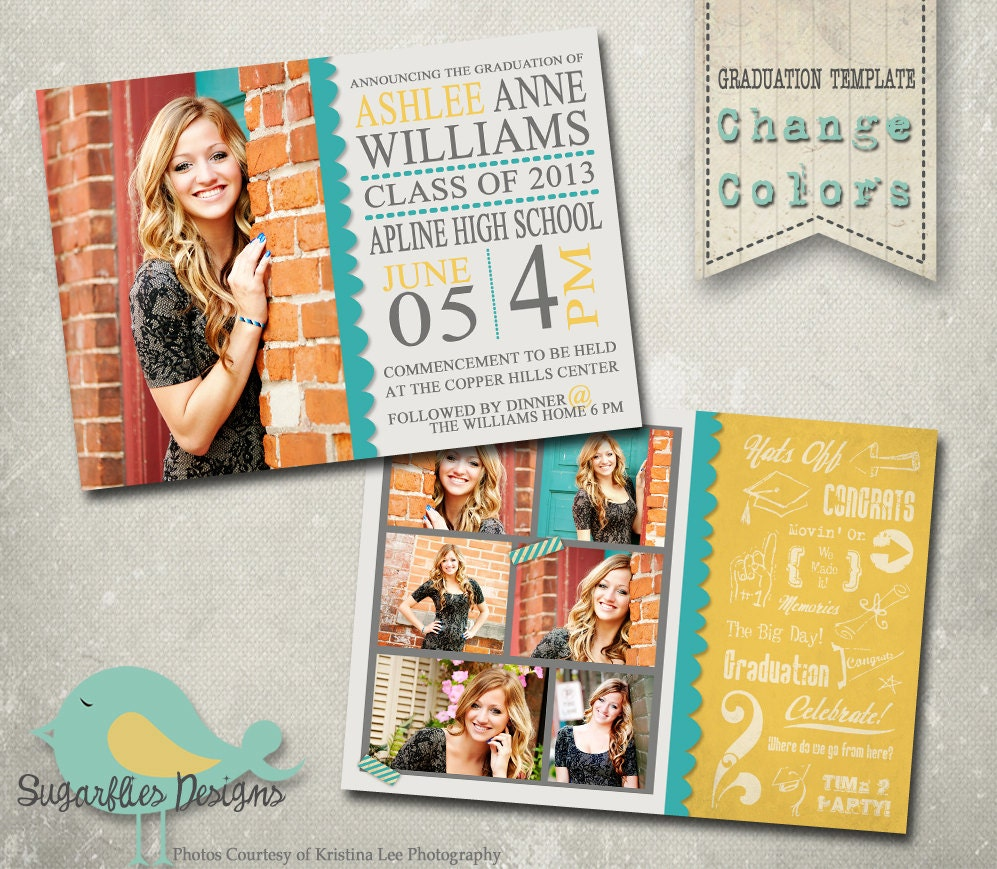 Graduation announcement photoshop template senior for Free senior templates for photoshop
