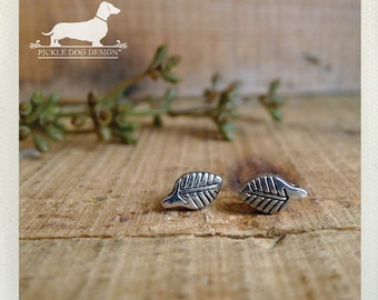 Lil Leaf. Post Earrings -- (Silver, Studs, Feather, Small, Shabby Chic, Vintage-Style, Autumn, Fall, Woodland, Bridesmaid Gift Under 10)