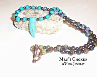 "Men's Necklace, Semi-Precious Gemstone ""Endless Possibilities"" , Free Shipping in the USA World-Wide!!"