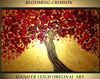 Original Large Abstract Painting Modern Contemporary Canvas Art Made to Order BLOOMING CRIMSON Tree 36x24 Palette Knife Texture Oil J.LEIGH