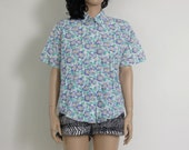floral turquoise / lavender vintage spring cotton shirt / top m