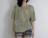 tribal / aztec / navajo olive green vintage slouchy hippie / boho shirt s / m / l