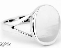Personalize Sterling Silver Monogrammable Engraved Oval Signet Ring for Teens