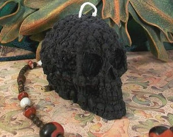 Small BLACK Skull Of Skulls Beeswax Skull Candle #2