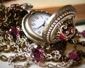 Amethyst Glass Cabochon Pocket Watch Necklace Pendant - Swarovski CrystalsPearls - Vintage Style Victorian Locket Jewelry