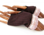 Fingerless Gloves - Texting Gloves - Upcycled, Recycled, Repurposed and Ecofriendly - Maroon, Black, White - Medium